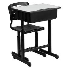flash furniture adjule height student desk and chair with black pedestal frame