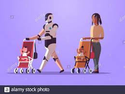 robot babysitter y madre o niñera caminando con el bebé en el robot de  cochecito frente a humanos juntos tecnología de inteligencia artificial  concepto plano de longitud completa horizontal vector ilustración Imagen