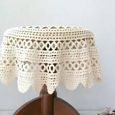 vintage granny round crochet tablecloth off white hand side table cover cloth covered french small round table cover bedside