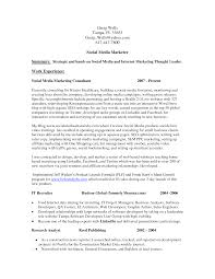 Collection Of Solutions Social Media Marketing Resume With