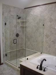 Easy On The Eye Open Bathroom Shower Tile Designs With Glass Door And Bathtub  Ideas
