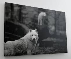 Wolf Wald Natur Schwarz Weiß Leinwand Bild Wandbild Kunstdruck L0644