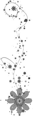 花のイラストフリー素材白黒モノクロno147白黒大小星