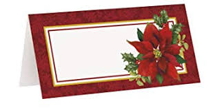 Holiday Placecards Amazon Com Holly Poinsettia Holiday Place Cards 16ct Kitchen Dining