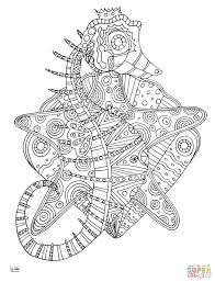 Small Picture Seahorse with Tribal Pattern coloring page Free Printable