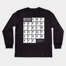 Segoe ui, cambria, calibri, arial, times new roman, tahoma or lucida sans. Funny Phonetic Alphabet Chart When On The Phone Phonetic Kids Long Sleeve T Shirt Teepublic
