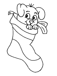 Small Picture A Cute Little Puppy on Christmas Stocking Coloring Page A Cute