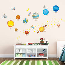 Large world map wall decal sticker 7ft x 3.47ft vinyl wall   etsy. Amazon Com Decowall Dw 1307 Planets In The Space Kids Wall Decals Wall Stickers Peel And Stick Removable Wall Stickers For Kids Nursery Bedroom Living Room Baby