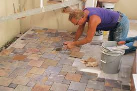 prepping for outdoor patio tile installation