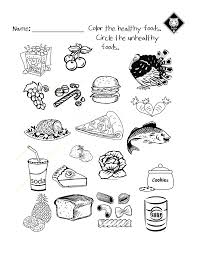 Healthy Vs Unhealthy Food Choices Worksheet