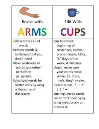 Revise And Edit Anchor Chart Revise And Edit With Arms And Cups Anchor Chart