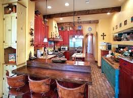 mexican kitchen decor with red cabinet paint themed accessories