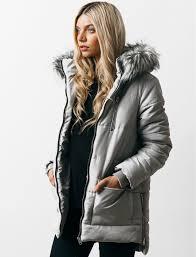 Oqena Quilted Parka Coat with Detachable Fur Trim Hood in Silver ... & Oqena Quilted Parka Coat with Detachable Fur Trim Hood in Silver Sconce –  Tokyo Laundry Adamdwight.com