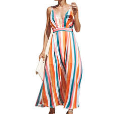 By The Way Clothing Size Chart Milky Way Womens Sexy Backless Beach Dress Deep V Neck Spaghetti Strap Dress Girls Summer Colorful Striped Dresses