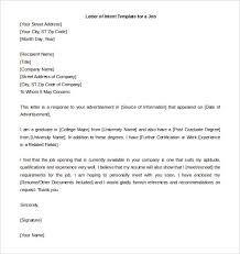 Letter of Intent Template for a New College Grad for a Job
