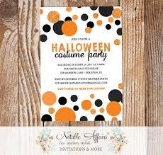 Confetti Dots Black And Orange Halloween Costume Party Invitation