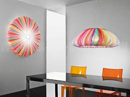 colorful shade for modern light fixtures inside unique dining area with reflective table and acrylic chairs