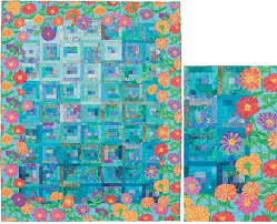 465 best quilt borders images on Pinterest   Free motion quilting ... & Zinnia Patch quilt by Carol MacQuarrie Raw edge applique for blended  borders using large scale prints. Adamdwight.com