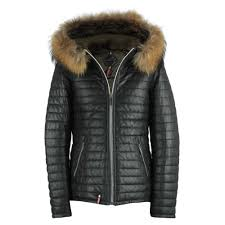 happy black leather fur trim hooded jacket p5846 52801 image jpg