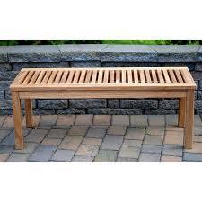 outdoor teak 4 foot backless slat patio bench