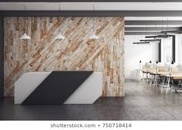 Modern office reception Blue Modern Office Interior With Reception Desk And Clean Wooden Wall 3d Rendering Shutterstock Modern Office Reception Area Stock Illustrations Images Vectors