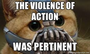 The violence of action was pertinent - bane cat | Meme Generator via Relatably.com