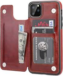 Amazon.com: iPhone 11 Pro Max Wallet Case with Card Holder,OT ONETOP PU  Leather Kickstand Card Slots Case,Double Magnetic Clasp and Durable  Shockproof Cover for iPhone 11 Pro Max 6.5 Inch(Brown)