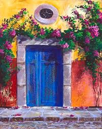 doors painting blue old door in spring in mexico by fernando gonzalez