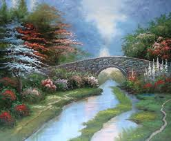 bridge by the stream american landscape oil painting