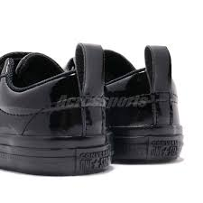 converse one star 2v triple black patent leather td toddler infant shoes 762522c