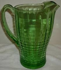 vintage green depression glass block optic pattern ice lip pitcher ribbed pattern