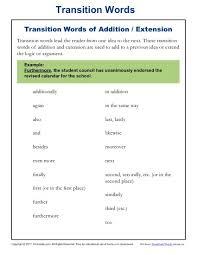 Transition Words Resources Worksheets K12reader