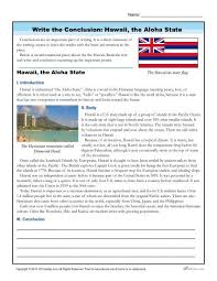 write the conclusion writing activity hawaii the aloha state write the conclusion writing activity hawaii the aloha state