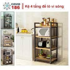 Kệ để lò vi sóng 4 tầng đa năng đựng dụng cụ nhà bếp, kệ để đồ bếp 4 tầng  khung thép sàn gỗ - Kệ nhà bếp Thương hiệu OEM