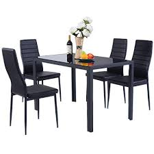 giantex 5 piece kitchen dining set gl metal table and 4 chairs breakfast furniture