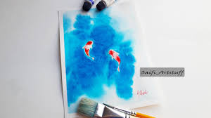how to super easy paint koi fish with watercolor by saifi artstuff