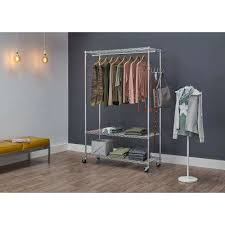 Rolling Coat Rack With Shelf New Garment Racks Portable Wardrobes Closet Storage Organization