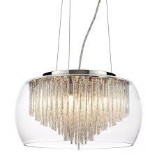 5 light ceiling pendant bowl shade with aluminium rods chrome glass