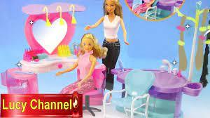 Đồ chơi Lucy Búp bê Barbie & Tiệm tóc trang điểm mới Hair salon make up Toy  for kids - YouTube