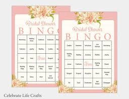 Wedding Bingo Words 100 Bridal Bingo Cards Floral Bridal Shower Bingo Game Prefilled Wedding Words Instant Download Pink Bridal Shower Games Br1002