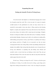 expanding idea and finding the scientific words in writing essays