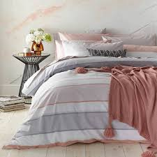 bianca cotton blush stripe double duvet cover set pink grey