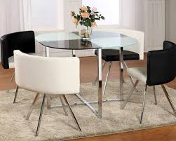 black and white dining table set: extravagant rounded frosted glass top leather dinette tables and chairs dining tables