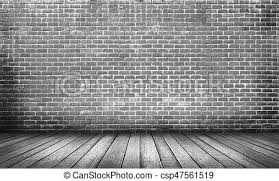 wood floor and wall background. Old Black Wood Floor With Brick Wall Background - Csp47561519 And