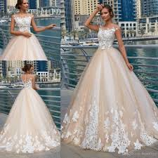 Beaded Designer Wedding Gowns 2019 Designer Wedding Dresses Sheer Neck 3d Flowers Lace Applique Beads Illusion Cap Sleeves Button Back Sweep Train A Line Bridal Gowns Cheap Wedding
