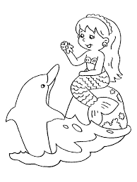 Simple Mermaid Coloring Pages At Getcoloringscom Free Printable