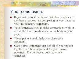 the five paragraph essay format ppt video online your conclusion begin a topic sentence that clearly relates to the theme that you