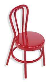 red retro chairs. Miniature Red Retro Cafe Chair - Christmas Miniatures And Winter Holiday Crafts Chairs