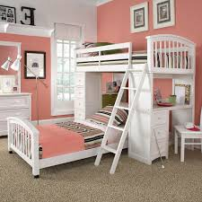 kids room white wooden bunk bed having striped blanket with white wooden desk and drawers