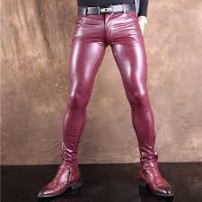 ซ อท ไหน 2016 summer personality slim elastic gold silver leather pants pu male costume ds ในประเทศไทย